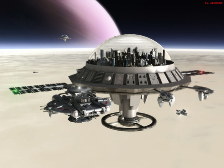 orbiting space stations - moon, dome, shuttles, city, planet