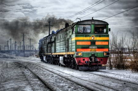 Russian Train - track, clouds, powerlines, train, snow
