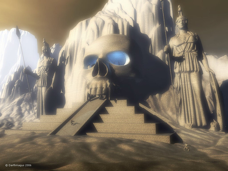 alien temple - people, statues, steps, mountains, skull