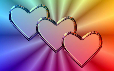 rainbow heart - love, heart, rainbow, triple