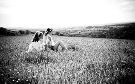 Friends - friendship, field, sky, friends, view, beauty, grass, love, nature, forever friend, girls