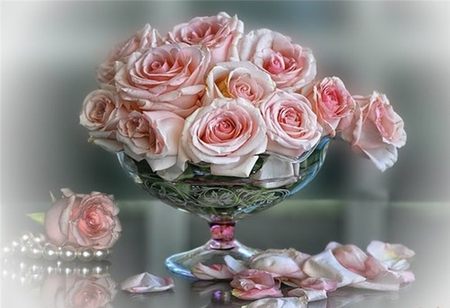Roses and pearls - Flowers & Nature Background Wallpapers ...