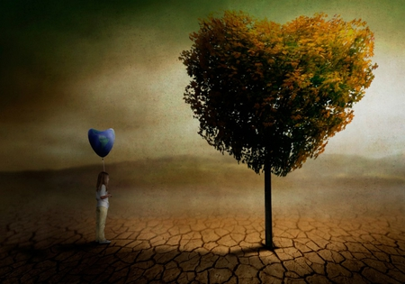 Love To Love - fantasy, balloon, child, abstract, tree, nature