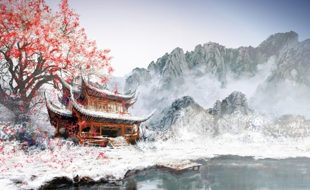 Japanese Temple - image, temple, colour, nature, mountains, picture, white, drawing, wallpaper, digital, japanese, snow, tree, wall, pic, building, art, lake, color