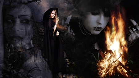 Δи∂ Ƨσσи тнɛ Ɖαяκиɛƨƨ - spells, darkness, halloween, angel, goth, dark, gothic, forest, spooky, evil, casting, sadness, flames, sorry, witch, dark angel, scary, soon, pain, fire, sad, good