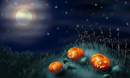 graveyard pumpkins - spooky, black, sky, night, dark, creepy, gothic, clouds, moon, scary, holiday