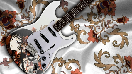 Beautiful Guitar - cloth, guitar, beautiful, floral, pattern, anime, print