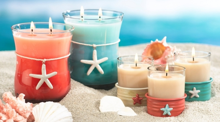Candles - cool, beautiful, pretty, harmony, beauty, nice, photo, candle, candles, starfish, colors, lovely, sand, photography, still life, shells, sea