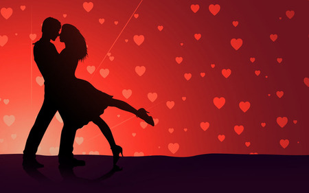 Loving Couple - loving couple, silhouettes, black, love, red, hearts