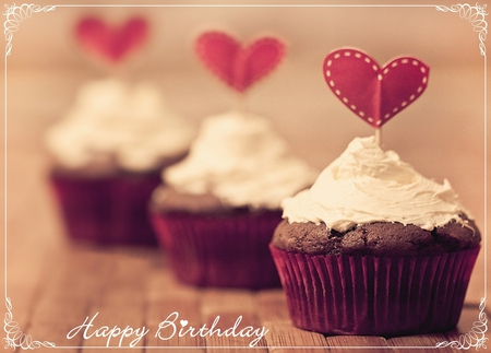 Happy Birthday - hearts, cake, cupcake, happy birthday, gift, heart, sweet, love