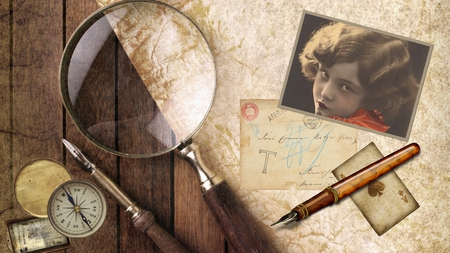 Try to Forget - paper, pen, old, antique, playing card, firefox persona, parchment, woman, ace of spades, compass, photo, vintage, magnifying glass