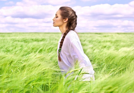 imagine - field, model, lovely, grass, green, white, female