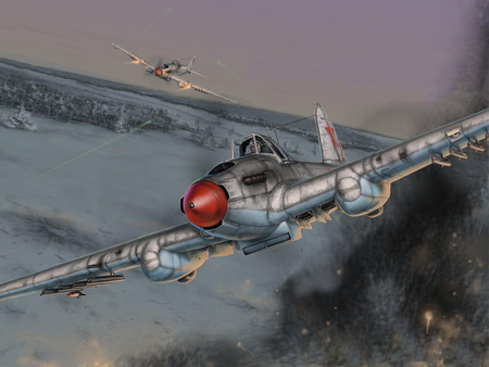 Russian Sturmovik - il-2, russian, ilyushin, il2, plane, painting, art, airplane, wwii, sturmovik, drawing, ww2