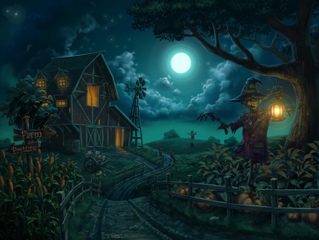 Farm - holidays, corn, halloween, cloud, blue, night, lamp, digital painting, farm, drawings, windmill, field, houses, pumpkin, moon, scarecrow, scarecrows, pumpkins
