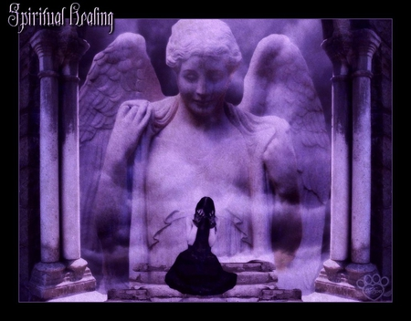 Spiritual Healing - spiritual, purple, angel, black