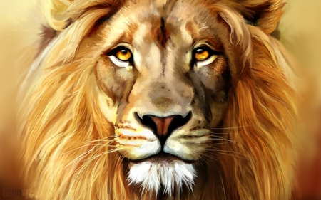 Beautiful Lion - lion, cat, abstract, painting, fantasy