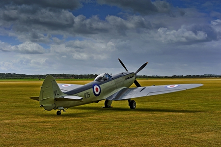 Hawker Seafire - field, sky, brittish, plane, airplane, seafire, wwii, english, fighter, hawker, british, ww2