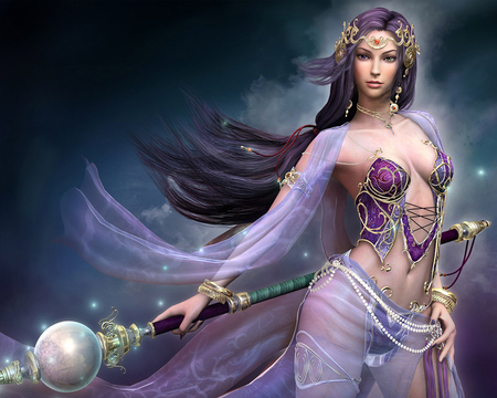 Spell Caster - graceful, beautiful, elegant, flowing, long hair, sexy, magic, staff, purple, woman, hot, spell
