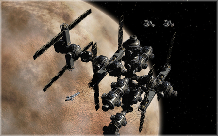 space station - starships, shuttle, stars, space station, planet