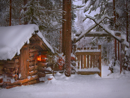 Small winter house - light, winter, yard, snow, small, evening, house