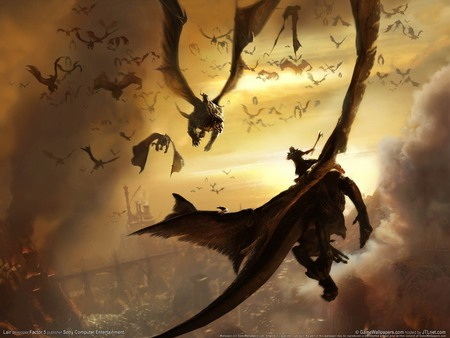 Lair Flying Dragon - abstract, fantasy, sky, dragons
