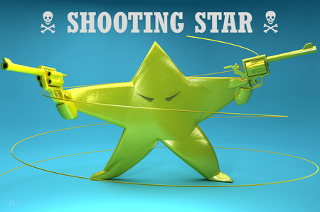 Shooting Star - Literally - 3d, blue, abstract, funny, danger, cute, gun, shooting star, star, evil, green