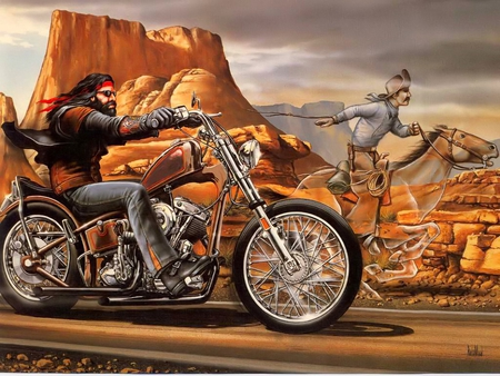 Ghost Rider - motorcycle, vaquero, bike, wrangler, road, solitary, moped, wild, ghost, dirt bike, scooter, cowboy, harley, horse, rider, free, david mann, chopper, desert, enduro, biker, ghost rider, cowhand, rocket