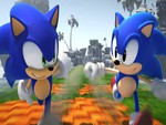 Modern and Classic Sonic looking at each other while running side by side.