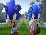 Modern and Classic Sonic running side by side