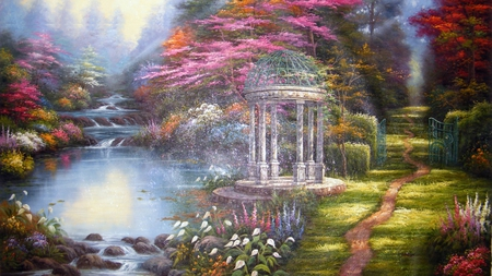 Paradise Landscape - green, flowers, gate, beautiful, trees, pink, rocks, painting, pond, grass, red