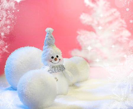 Cute Snowman - magic, winter, photography, ball, snowmen, balls, snowman, merry christmas, lovely, magic christmas, happy new year, smile, new year, christmas balls, white, colors, christmas, pink, snow, holiday, xmas, beauty, sweet, cute, beautiful, pretty, adorable