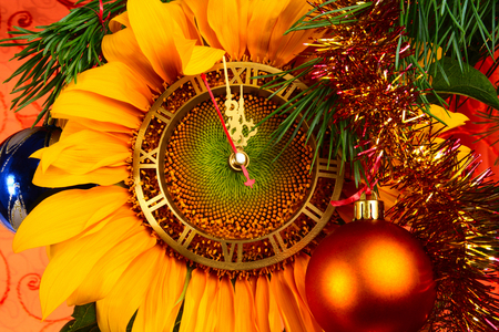 Happy New Year!!! - cool, decoration, amazing, balls, beautiful, great, pretty, beauty, switches, yellow, nice, clock, photo, gold, holiday, happy new year, new year, sunflower, colors, lovely, ball, golden, photography, midnight