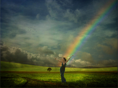 Dancing Under the Rainbow - landscape, woman, dancing, rainbow, magical