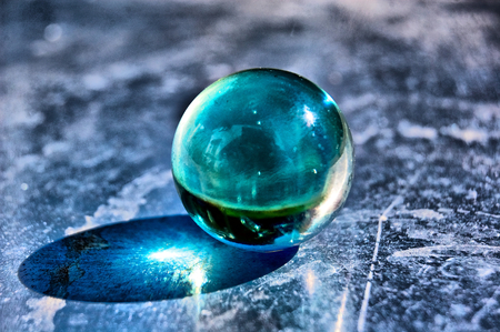 Blue Glass Ball - beautiful, reflection, abstract, blue, ball, glass ball, photography, glass, blue ball