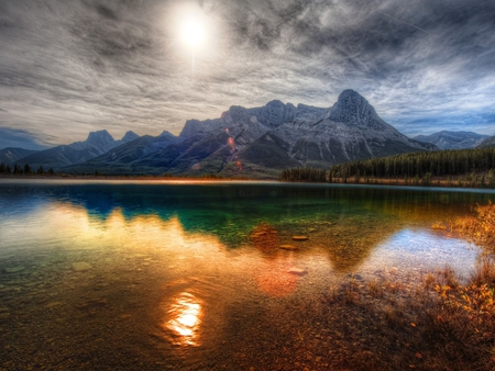 Colorful lake - lake, sunset, sky, mountain, nature