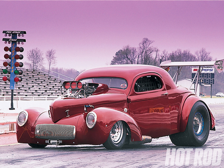 41 Willys - 1941, blown motor, red, ford