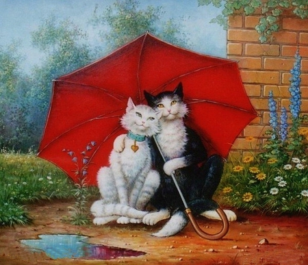 Image result for rainy day animals under umbrella