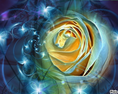 Blue Fractalius Rose - rose, digital art, blue, fractal, nature, fractalius, stars