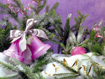 Pretty Christmas - pink, bows, white, boughs, decorations, holiday, christmas, bells