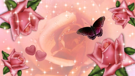 Shining Rose - summer, pink, sparkles, hearts, stars, firefox persona, butterfly, roses, shine, peach