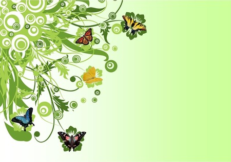 Butterfly Fantasy - green, butterfly, flowers, circles, abstract, butterflies, fantasy