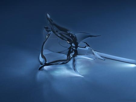Glass Rose - glass rose, rose, broken, fragile, 3d, glass