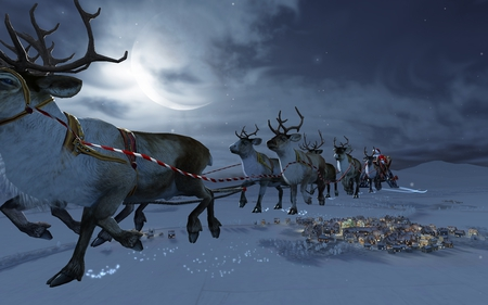 Santa - rudolph, presents, santa, christmas, reindeer, moon, snow, 3d, nature