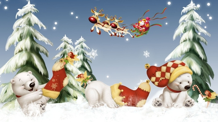Polar Bear Christmas - Winter & Nature Background Wallpapers on ...