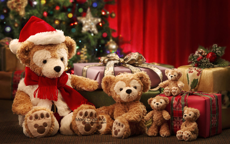 ♥Teddybear Merry Christmas♥ - happiness, photography, gifts, bows, joy, bears, christmas tree