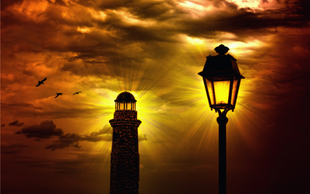 The Lighthouse - powerlight, splendor, amazing, beautiful, view, beauty, architecture, lighthouse, lamp, sunset, shimmering, lighthouses, rays, colorful, sky, colors, lovely, power, lanterns, birds, light, clouds, storm, bird, golden sunset, stormy, nature, sun, peaceful, shine, lantern