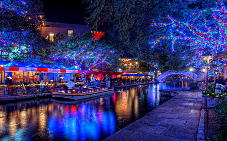 Christmas Lights - splendor, christmas lights, reflection, blue, pretty, architecture, night, water, boat, house, holiday, happy new year, trees, new year, lanterns, merry christmas, christmas, peaceful, city, lantern, lake, people, beautiful, way, tree, romantic, path, view, beauty, magic, xmas, magic christmas, terrace, walk, building, boats, restaurant, colorful, colors, lights, houses, lovely, happy holidays, town, bridge, buildings, nature, romance