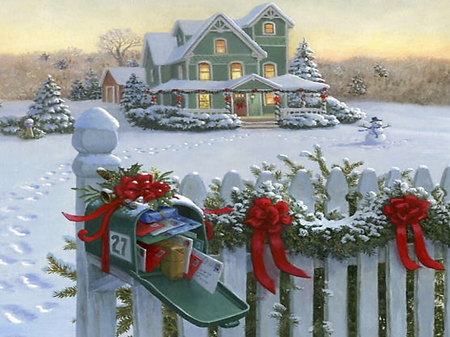 Christmas street 27 - colorful, christmas, peaceful, white, letters, red, winter, landscape, love, packet, american dream, color, snowman, merry christmas, nature, footsteps, beautiful, paint, lovely, snow, gifts, merry, cottage, house, mailbox, fence