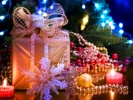 Merry Christmas - christmas lights, beautiful, reflection, ribbon, christmas candle, christmas gift, pretty, beauty, xmas, magic, magic christmas, christmas tree, holiday, christmas candles, happy new year, candle, candles, new year, colorful, christmas light, colors, lights, lovely, merry christmas, christmas, christmas star, bow, light, photography, christmas balls, happy holiday