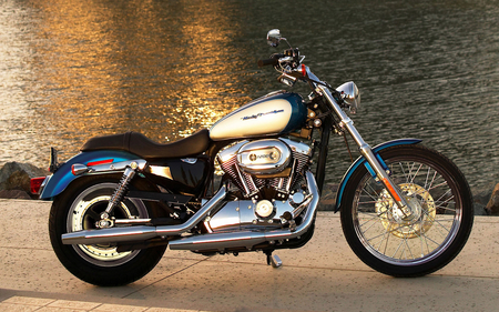 Lakeside Harley - motor, water, bike, lake, motorcycle, davidson, cycle, harley